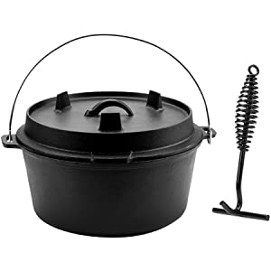 CO-Z Pre-Seasoned Cast Iron Dutch Oven with Lid and Lid Lifter Tool Outdoor Deep Camp Pot, 9 Quart