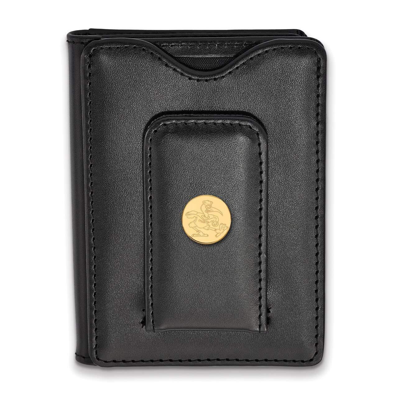 Lex /& Lu LogoArt Sterling Silver w//GP University of Miami Black Leather Wallet LAL142007