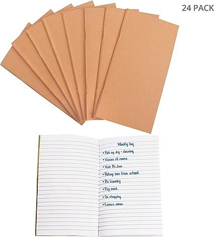 Belle Vous Cuadernos de Notas Kraft (24 Paquete) - 40 Hojas, Forradas (10,6x21x0,5cm) Cuaderno Diario - 80 GSM Cubierta Marrón de Kraft, Cuaderno de Bolsillo para Viajeros, Lista de Quehaceres, Notas: Amazon.es: