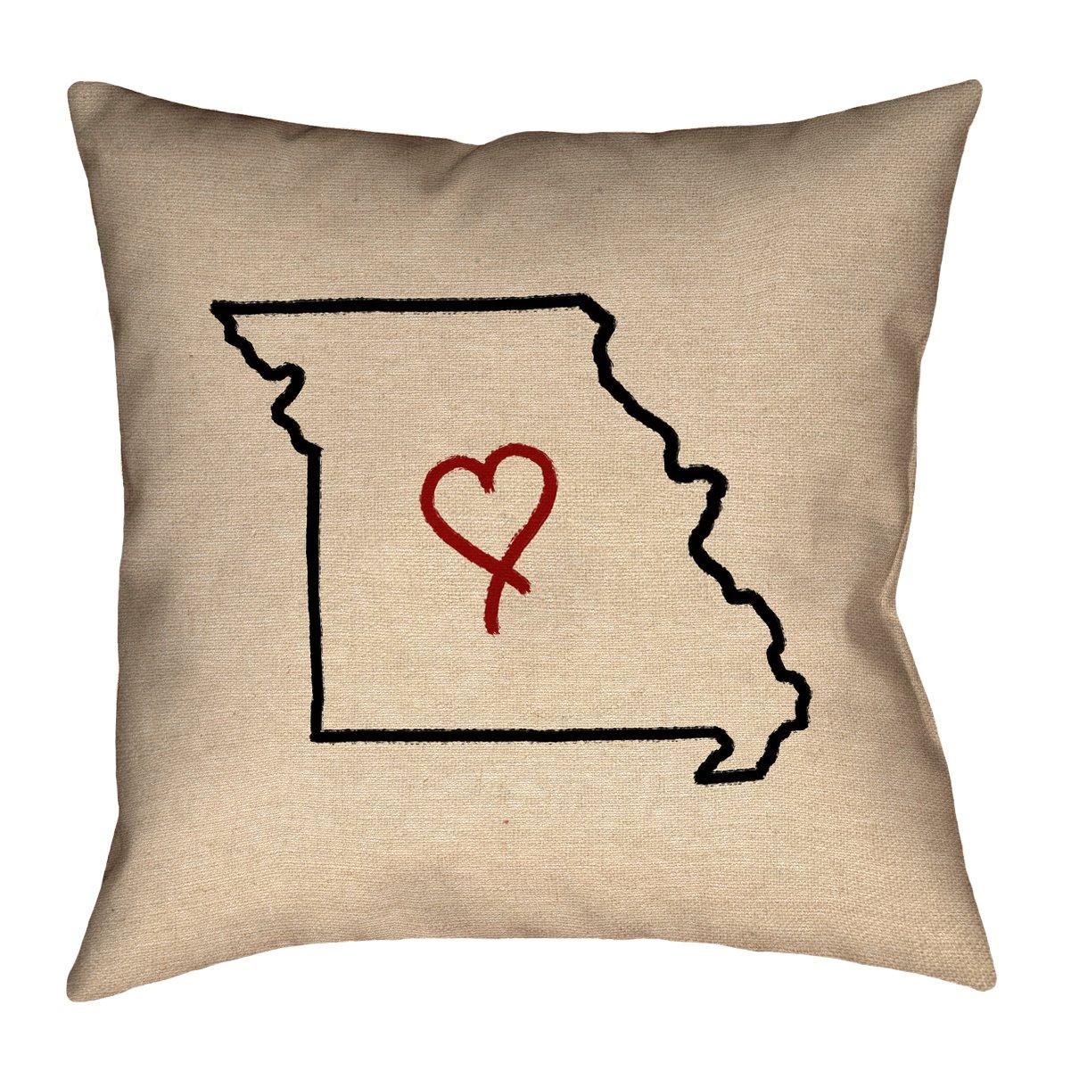 ArtVerse Katelyn Smith 16\' x 16\' Outdoor Pillows & Cushions UV Properties + Waterproof and Mildew Proof Missouri Love Pillow