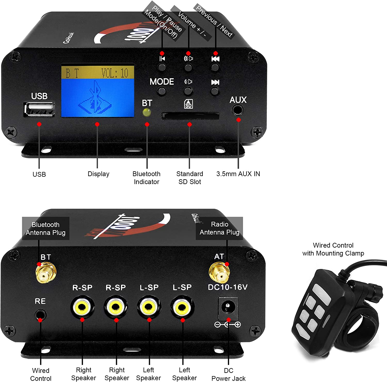 GoHawk TJ4-Q 1000W 4 Channel Amplifier 4 Full Range Waterproof Bluetooth Motorcycle Stereo Speakers Audio System AUX USB SD Radio for 1-1.5 Handlebar Harley Touring Cruiser ATV