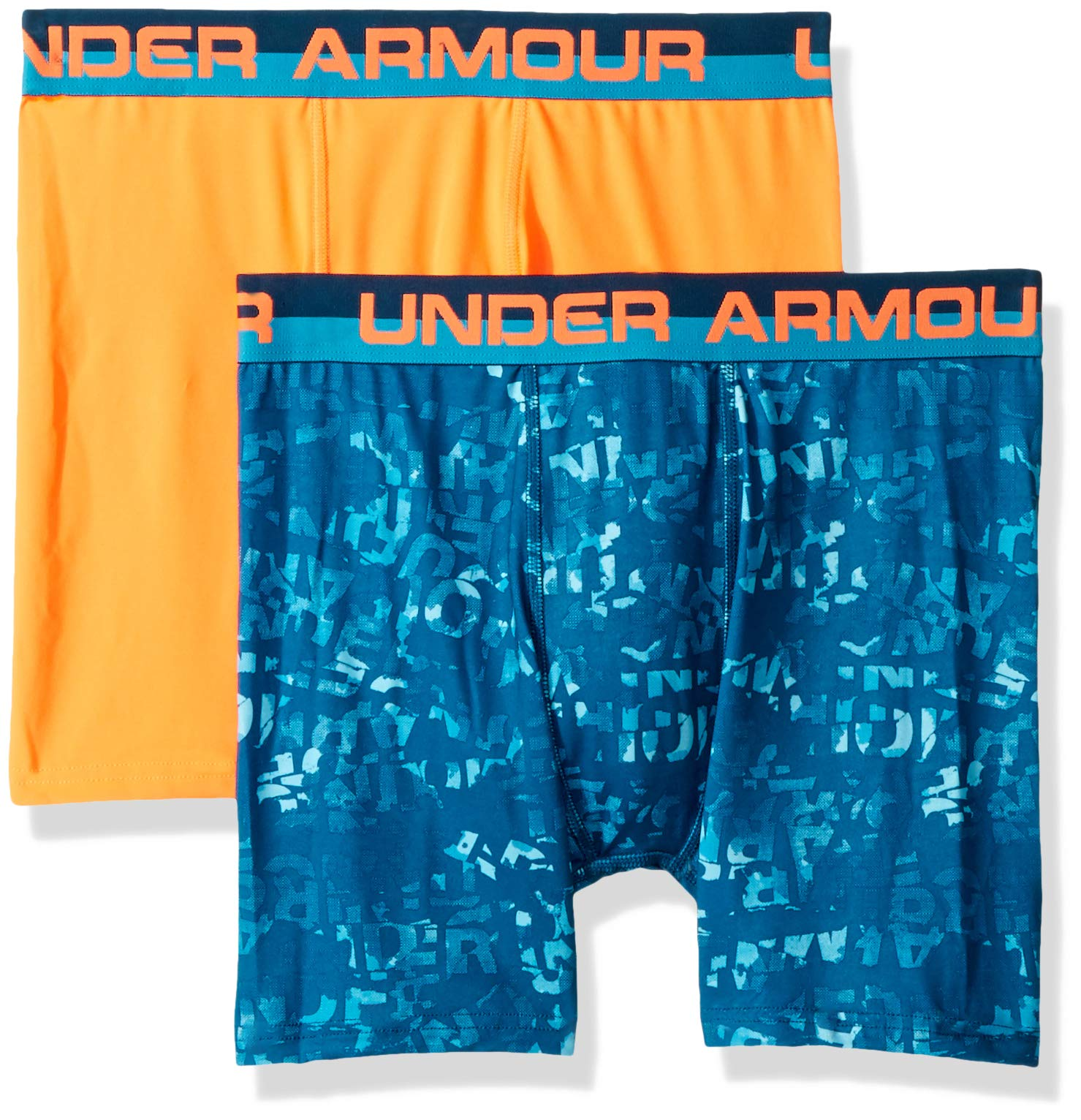 Under Armour Boys 2 Pack Performance Boxer Briefs, Teal/Orange YLG