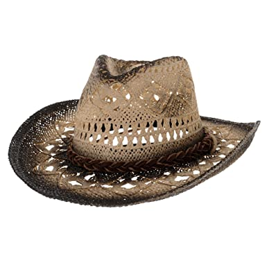 6f100e57068 WITHMOONS Western Cowboy Hat Cool Paper Straw Banded Chin Strap GN8765  (Black)