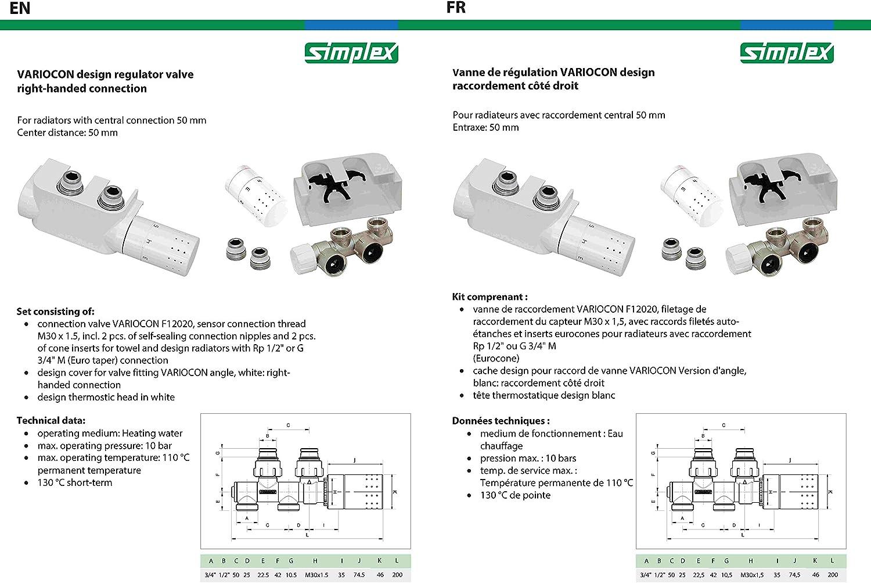 EPDM Kunststoff Wei/ß Simplex F12013 Design Ventilhahnblock VARIOCON Set Anschluss-Rechts Heizk/örperventil Badheizk/örperventil Messing Vernickelt