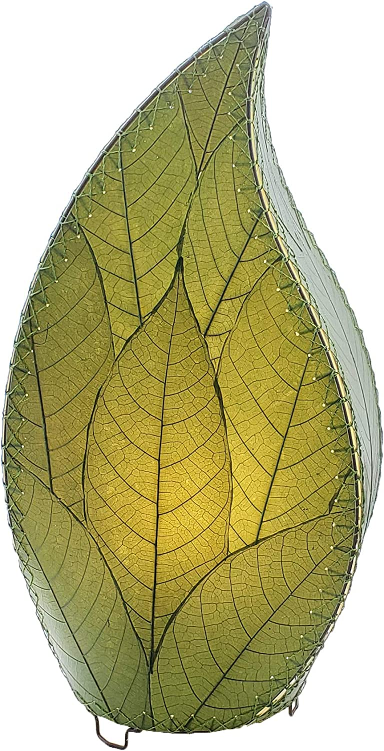 Eangee Home Design Outdoor Leaflet Table Lamp in Green – Shade Made From Real Cocoa Leaves (ol695 g)