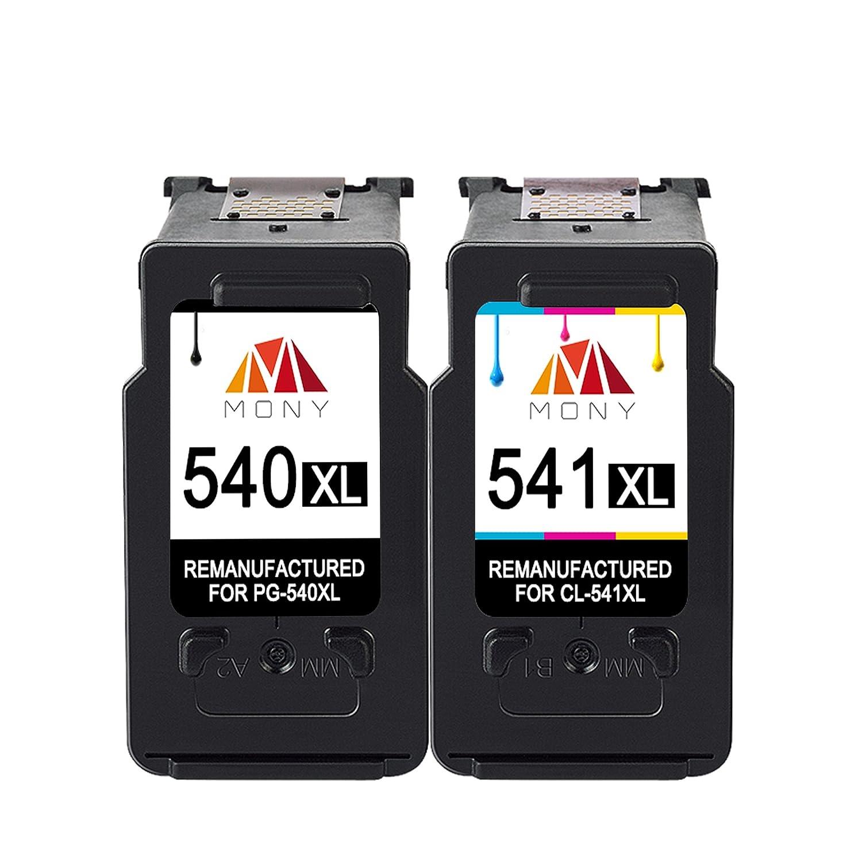 Mony Remanufacturado Cartuchos de tinta Canon PG-540 CL-541 XL (1 Negro, 1 Tricolor) Compatible con Canon Pixma MG3650 MX475 MG4250 MG3550 MG3250 ...