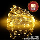 Fairy Lights LED String Lights, Tintec 5m 50 LED Waterproof Battery Led Fairy Lights Copper Wire Starry String Lights for Indoor&Outdoor,Bedroom,Homes,Wedding,Party,Christmas-Warm White