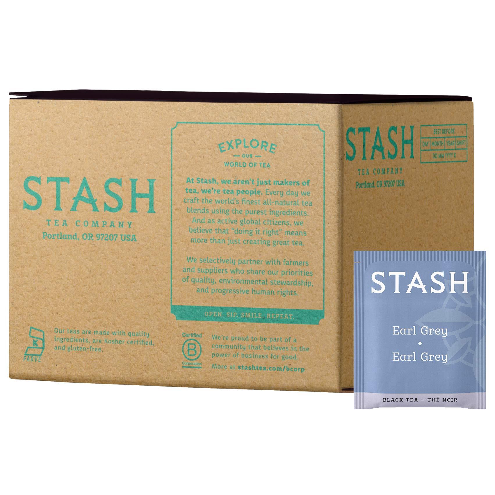 Stash Tea Earl Grey Black Tea, 100 Count Box of Tea Bags in Foil (packaging may vary) Full Caffeine Tea, Black Tea with Bergamot, Enjoy Hot or Iced