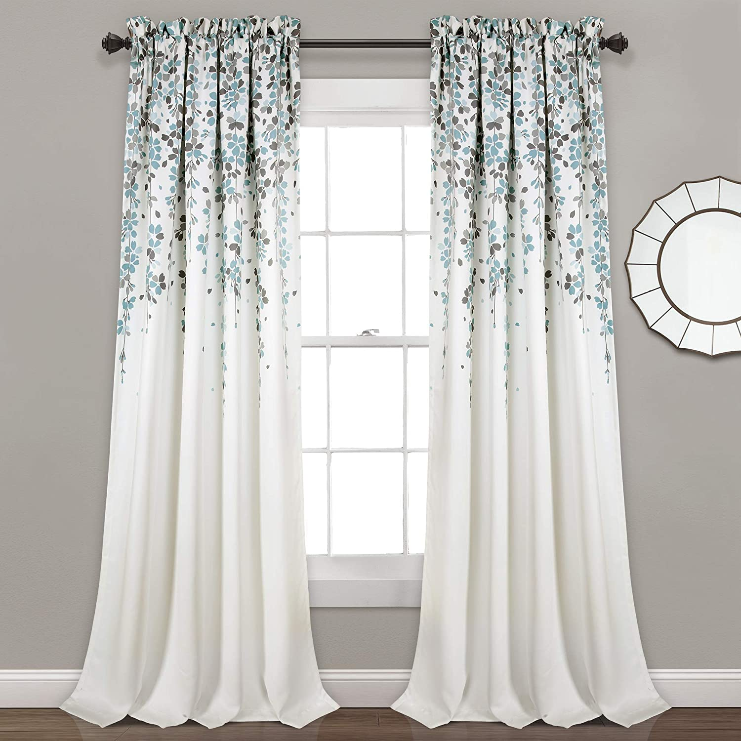 "Lush Decor, Blue and Gray Weeping Flowers Room Darkening Window Panel Curtain Set (Pair), 95"" x 52, 95"