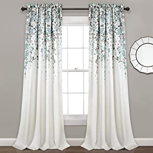 "Lush Decor, Blue and Gray Weeping Flowers Room Darkening Window Panel Curtain Set (Pair), 84"" x 52, 84"" x 52"""