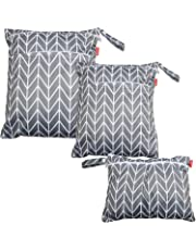 Damero 3pcs Wet and Dry Cloth Diaper Bag, Travel Packing Organizer with Handle for Cloth Diaper, Pumping Parts, Clothes and More, Easy to Grab and Go, Gray Arrow