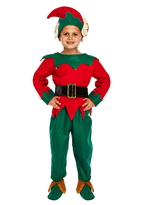 Child - Disfraz de elfo de navidad para niño, talla 7-9 años (W20 066)