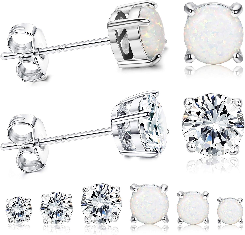 Milacolato 6Pairs 18K White/Rose Gold Plated Stud Earrings for Women CZ Earrings Opal Earrings Set with Gift Box