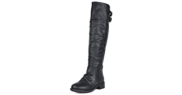 1fe1858db52 DREAM PAIRS Women s Supra Black Over The Knee Motorcycle Riding Boots Wide  Calf Size 9.5 M US