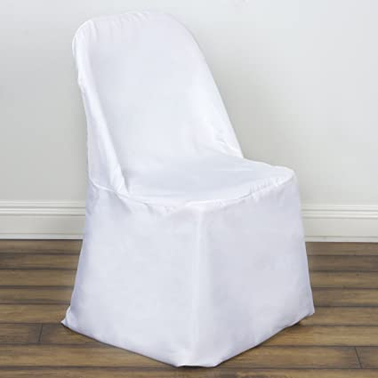 BalsaCircle 10 Pcs White Polyester Folding Flat Chair Covers Slipcovers For Wedding Party Reception Decorations