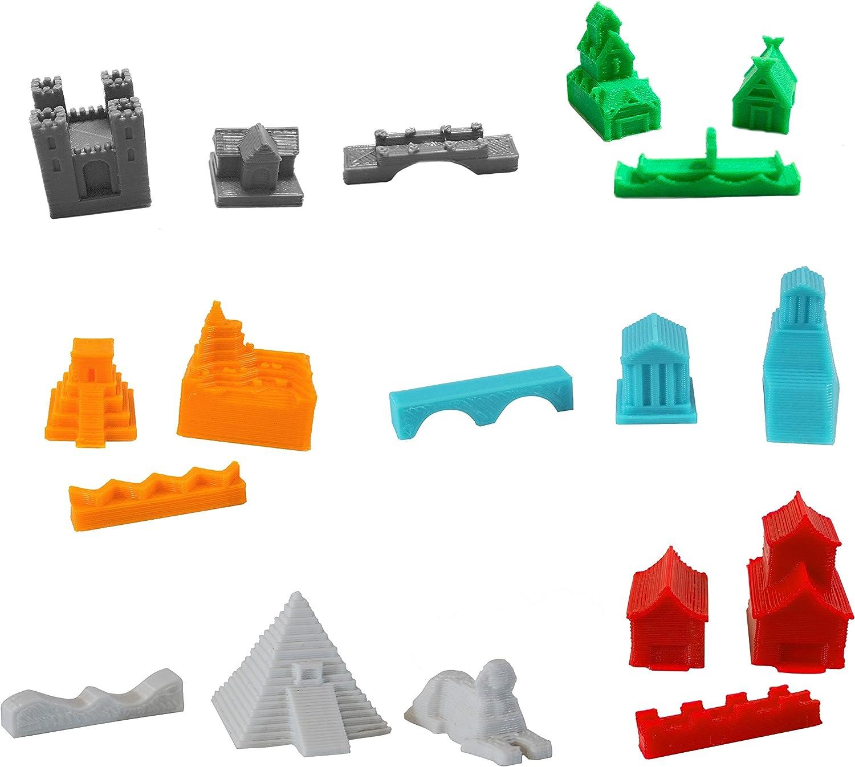 Build3D Piezas de Repuesto para los colonos de Catan, 6 Empires, Gótico, Viking, Chino, Romano, Incano, Egipcio, Piezas de Repuesto para Juego Completo de 6 Jugadores, Regalos para Geeks: Amazon.es: Juguetes y