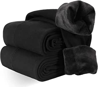 XDDIAS 2 Pares Leggings Térmicas Mujer, Negro Cálidas de Invierno Leggings para Mujer Terciopelo Elástico Mallas Pantalon Termico-Talla única
