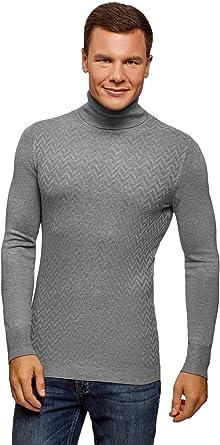 TALLA XXL. oodji Ultra Hombre Suéter de Punto con Decoración Texturizada