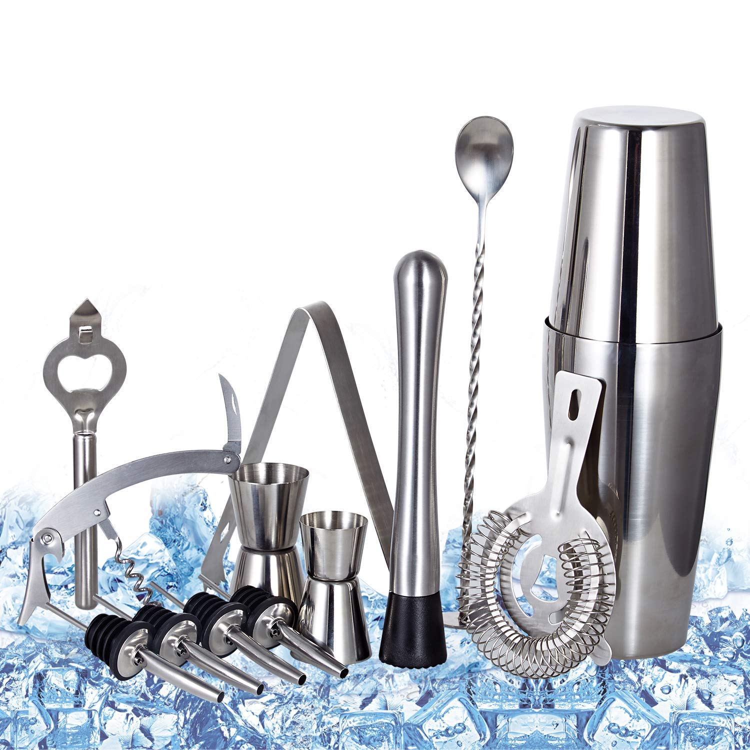 Cocktail Shaker Set Professional Bartender Kit - Premium Brushed Stainless Steel Martini Mixer, Spoon, pourers, Ice Tong, Strainer, Jigger, Muddler, Bottle Opener, Cork Screw for home Barware Tools by TOP BEAUTY (Image #1)