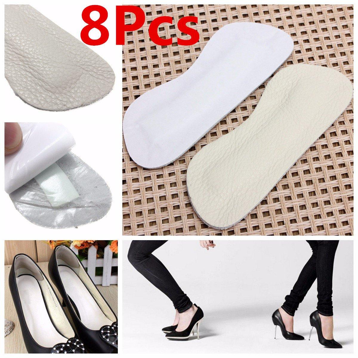 [Free Shipping] 8Pcs Gray Leather Gel Heel Cushion Protector Foot Feet Shoe Insert Pad Insole // 8pcs gel de cuir gris pavé insert talon pieds coussin protecteur de pied de semelle de chaussure