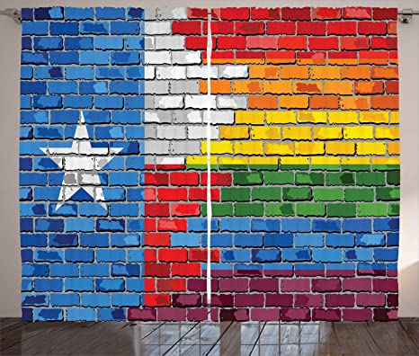 Amazon Com Ambesonne Austin Curtains Brick Wall Textured Grungy Image Painted In Texas Flag And Rainbow Colors Design Living Room Bedroom Window Drapes 2 Panel Set 108 X 90 Multicolor Home Kitchen