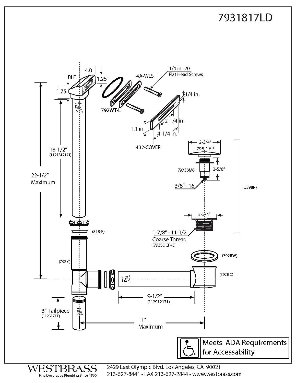 Westbrass 22 Linear Tip-Toe Drain Bath Waste /& Overflow Oil Rubbed Bronze 7931817LD-12