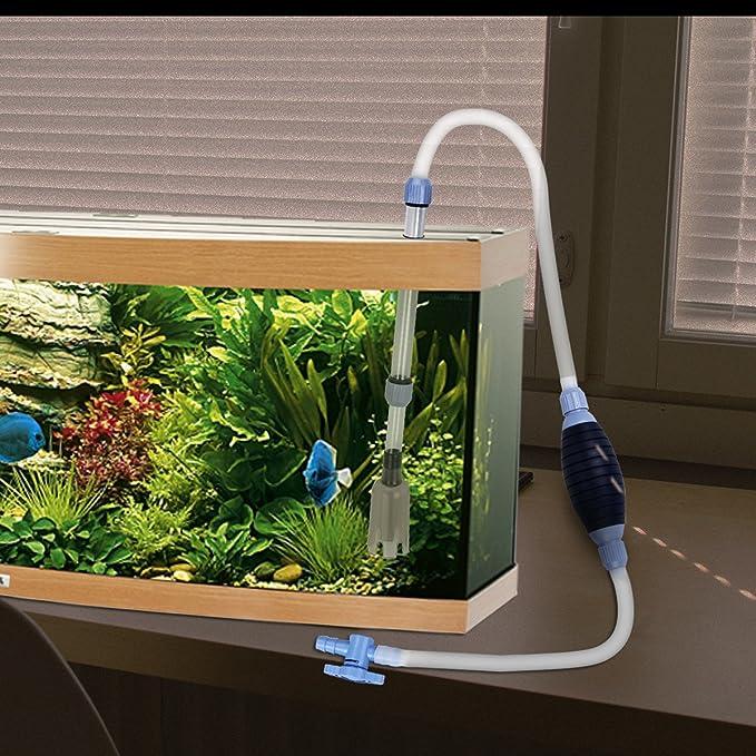 DEBEME Manual de peces de acuario tanque de agua Squeeze cambiador de limpiador de limpieza del filtro de la bomba ?tiles de limpieza (2.13m / 7 pies de ...