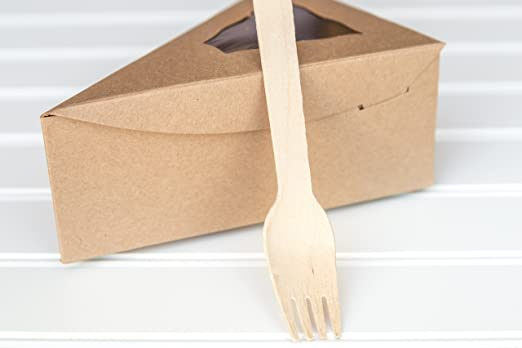 Amazon.com: 25 Kraft Brown Individual Pie Slice Box With 25 Wood Forks: Kitchen & Dining