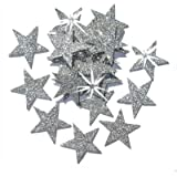 48 Silver 25mm Self Adhesive Glitter Star Sticker card making craft Diy christmas