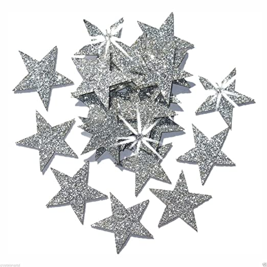 Christmas Tablescape Decor - 48 Iron-On Silver Glitter Christmas Stars