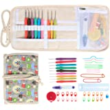 Damero Ergonomic Crochet Hooks Set, Travel Canvas Roll Organizer with 9pcs 2mm to 6mm Soft Grip Crochet Hooks and Complete Knitting Accessories, All in One, Easy to Carry, Green Owls
