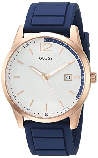 Amazon.com: GUESS Mens Stainless Steel Casual Silicone Watch, Color: Blue (Model: U0991G5): Watches