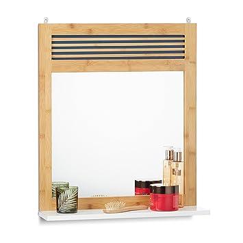 relaxdays badspiegel mit ablage verzierter wandspiegel bambus badezimmerspiegel hbt 61 x 53 x