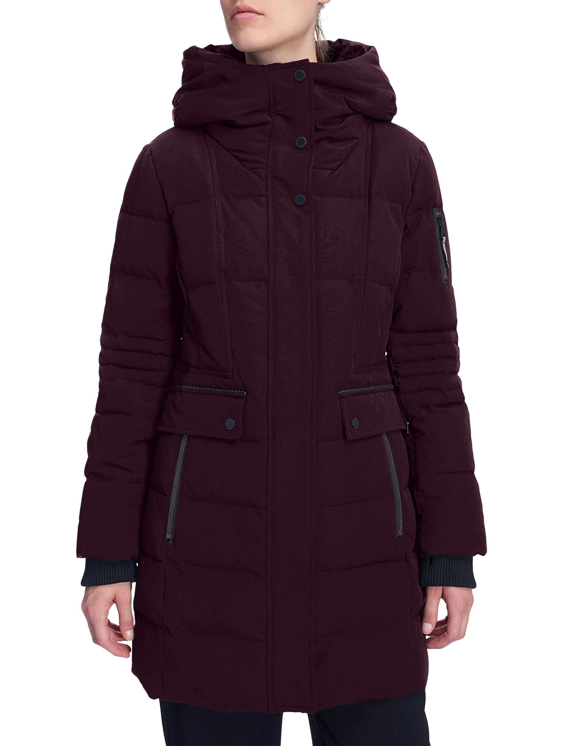 Alpine North Women's Winter Fur Down Parka Jacket Hooded Mid-Length Coat