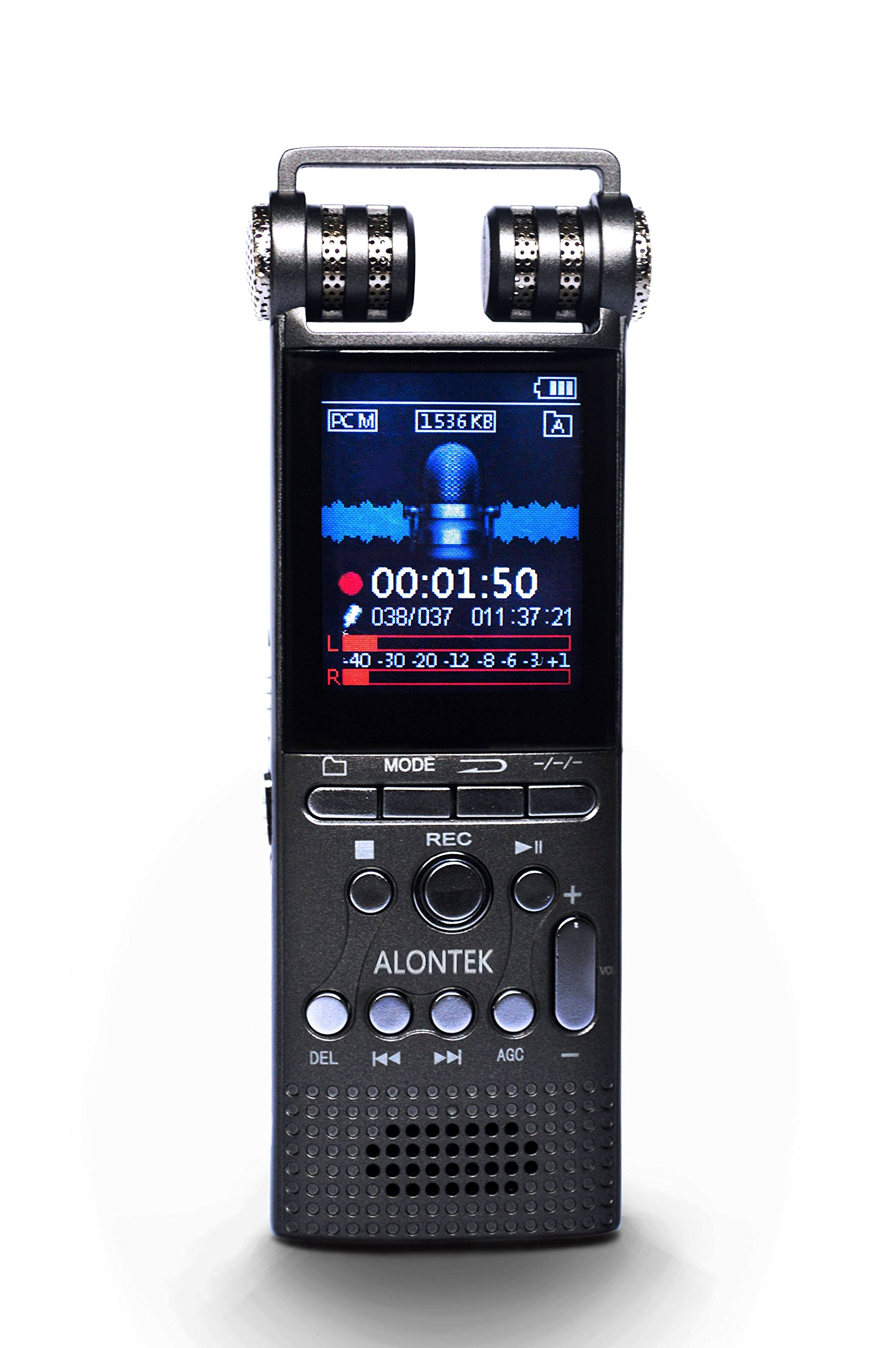 Voice Recorder - Alontek 8GB Rechargeable Digital Audio Dictaphone with Password Protection, Noise Reduction, Professional Phone Call Recorder with TF-Card Slot, MP3 Player