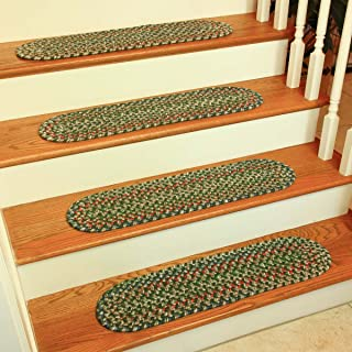 product image for Rhody Rug KA63A008X028-13 Katie Multi Braided Stair Tread44; Sage - Set of 13