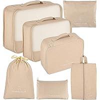 Koffer Organizer 7 Set, Packing Cubes Gepäck Packwürfel Organizer mit Schuhbeutel und Kulturbeutel