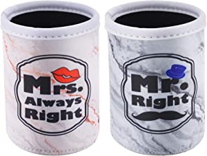 CM Soft Neoprene Standard Beverage Can Sleeves Insulators Regular Standard Can Covers for Standard 12 Fluid Ounce Drink & Beer Cans (Marble Mr. & Mrs. Pattern (2 Pcs))