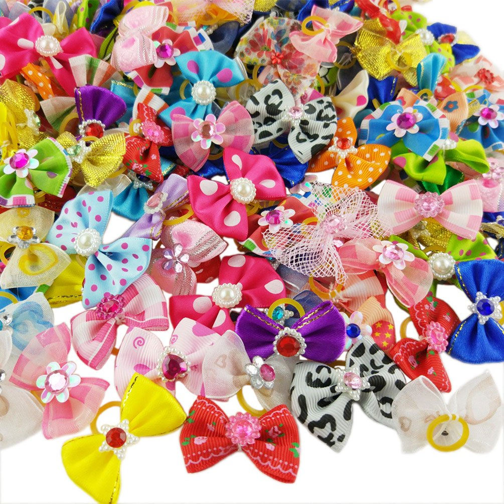 Hixixi 50pcs/pack Pet Cat Dog Hair Bows Multicolor Rhinestone Beads Flowers Topknot With Rubber Bands Puppy Hair Accessories Mix Color Random