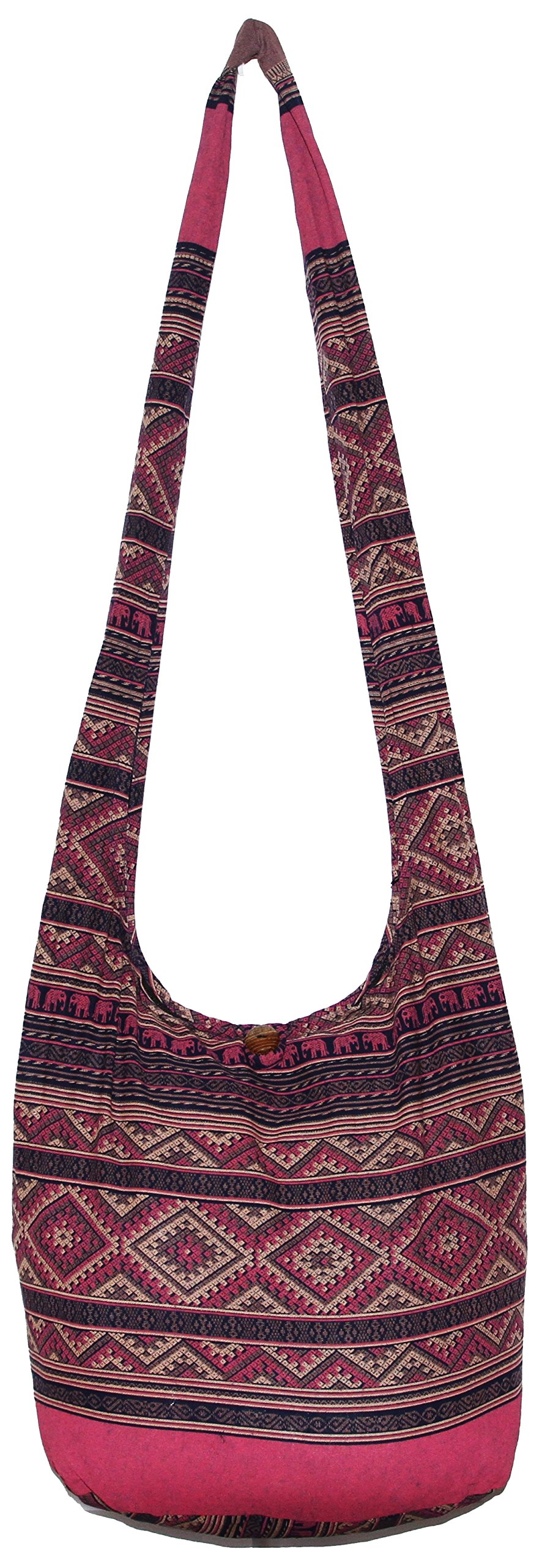 Elephant Hippie Bohemian Shoulder Hobo Boho Cross Body Bag 37 Inch (DarkBluePurple)