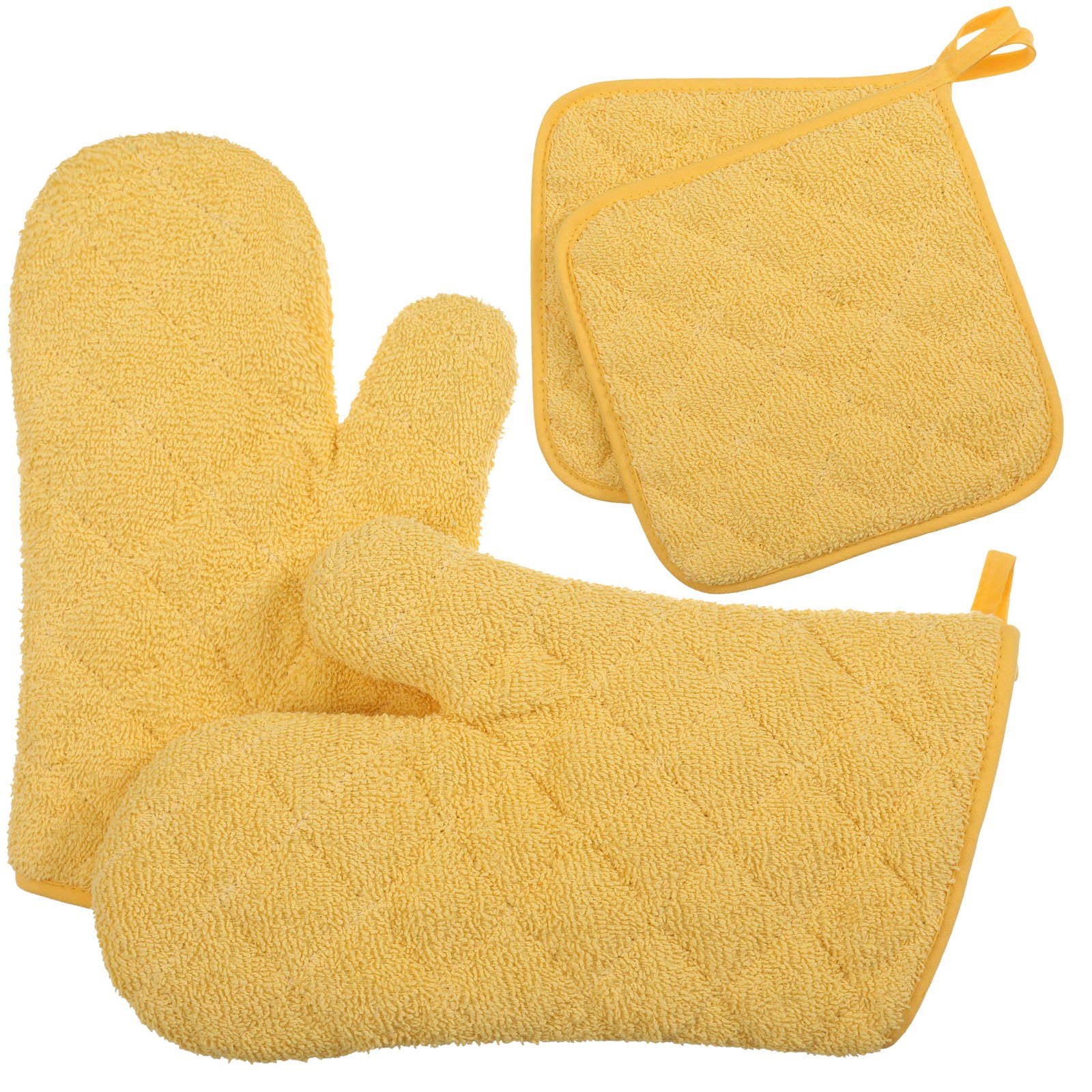 VEEYOO Cotton Oven Mitts Pot Holder Set Quilted Trivet Mats Kitchen Heat Resistant for Cooking Baking, Yellow