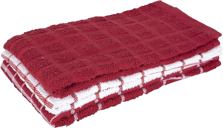 Ritz KitchenWears 100/% Cotton Terry Hanging Kitchen Tie Towel Multi-Check Biscotti