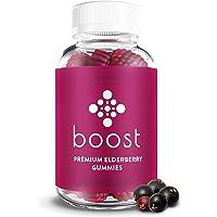 Boost Premium Elderberry Gummies (60ct) | Zinc & Vitamin C Gummies for Adults & Kids | Non-GMO, Vegan Elderberry Herbal Supplements | Elderberry, Zinc, & Vitamin C Gummies