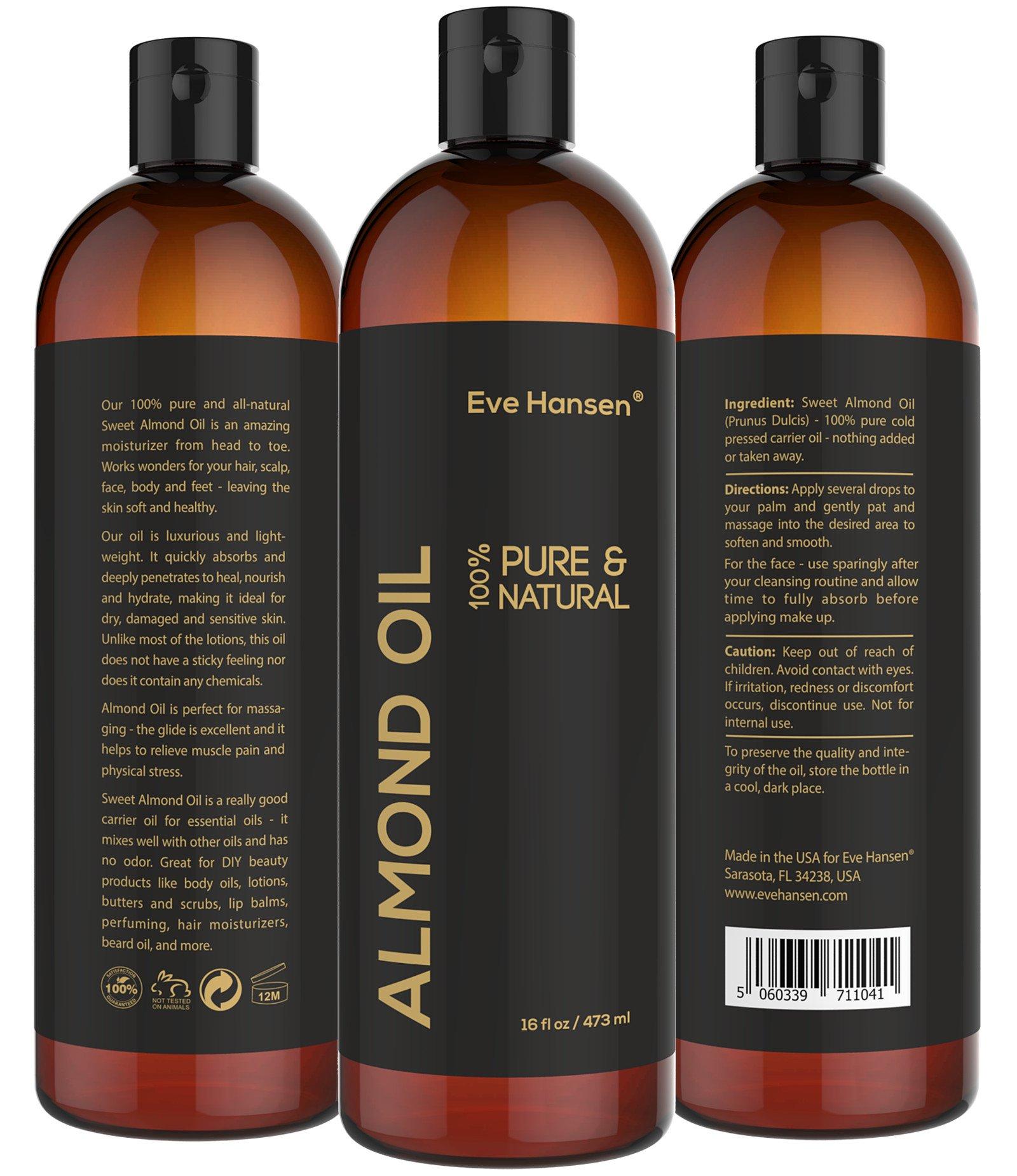 Sweet Almond Oil - Organic Moisturizer for Skin, Face, Body, Hair, Eve Hansen, 16 ounces