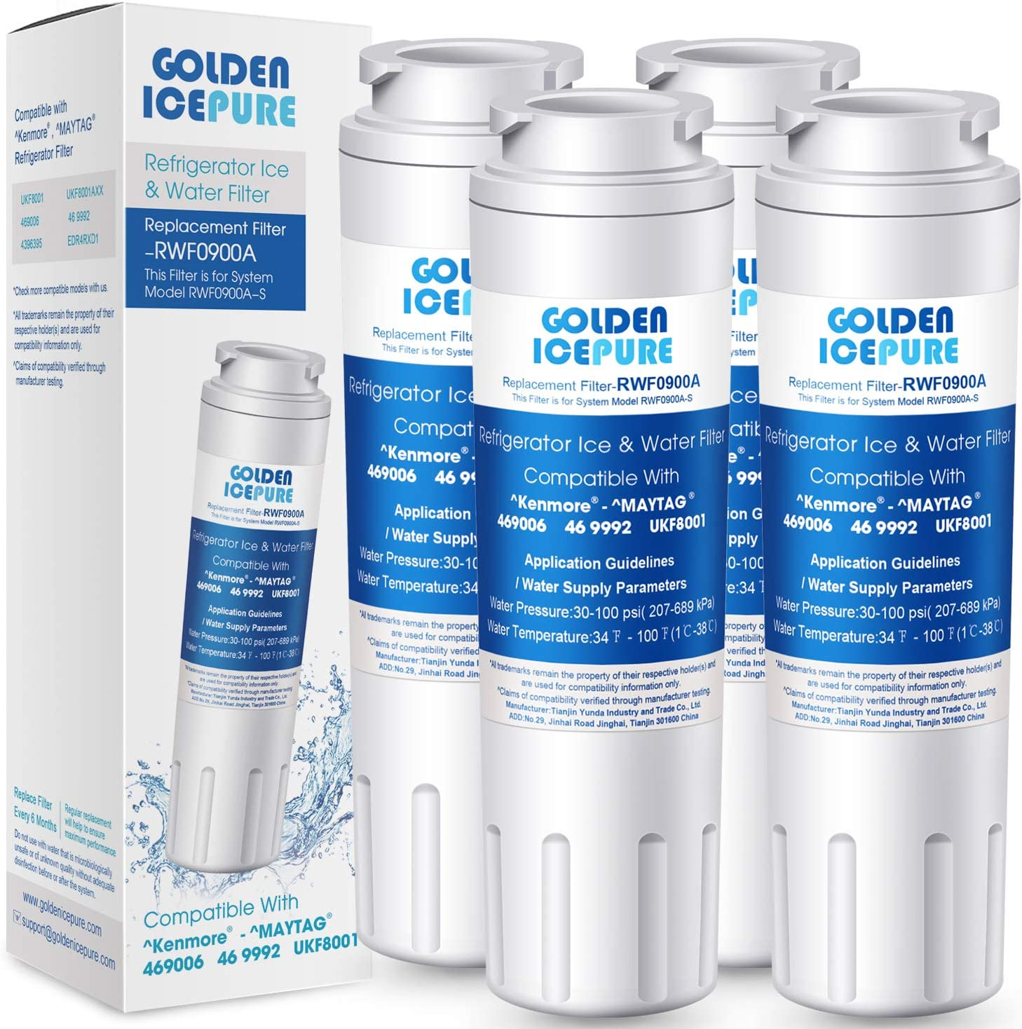 GOLDEN ICEPURE UKF8001 Replacement Filter 4 EveryDrop EDR4RXD1 Wrx735sdbm00, Mfi2570fez Msd2651heb, Krfc300ess01, 469006, RWF0900A Refrigerator Water Filter 4pack