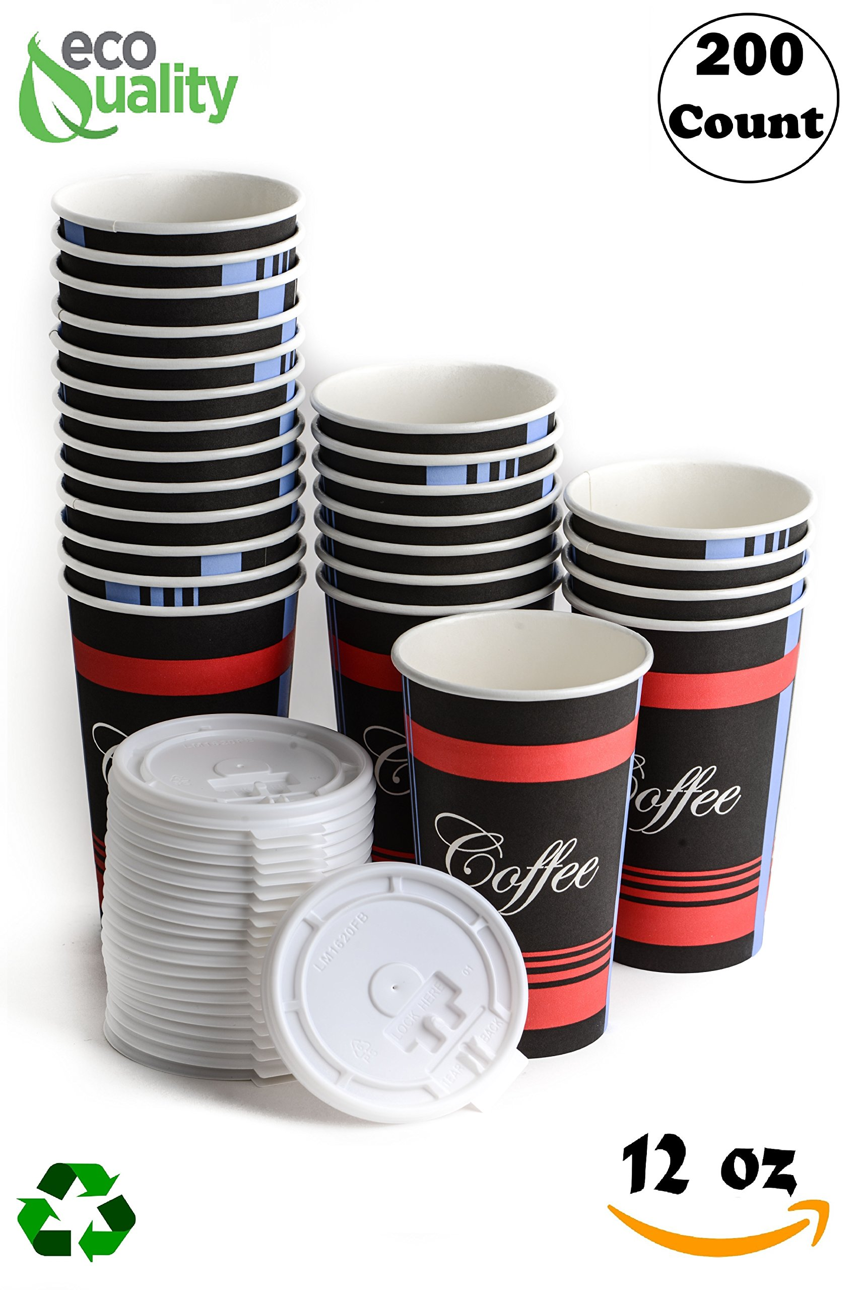 Restaurant Grade 12 Oz Paper Coffee Cups with White Lids - 200 Count By EcoQuality Disposable Cups For Hot and Cold Drinks. Great For Tea, Soda, Shops, Cafes, and Concession Stands.
