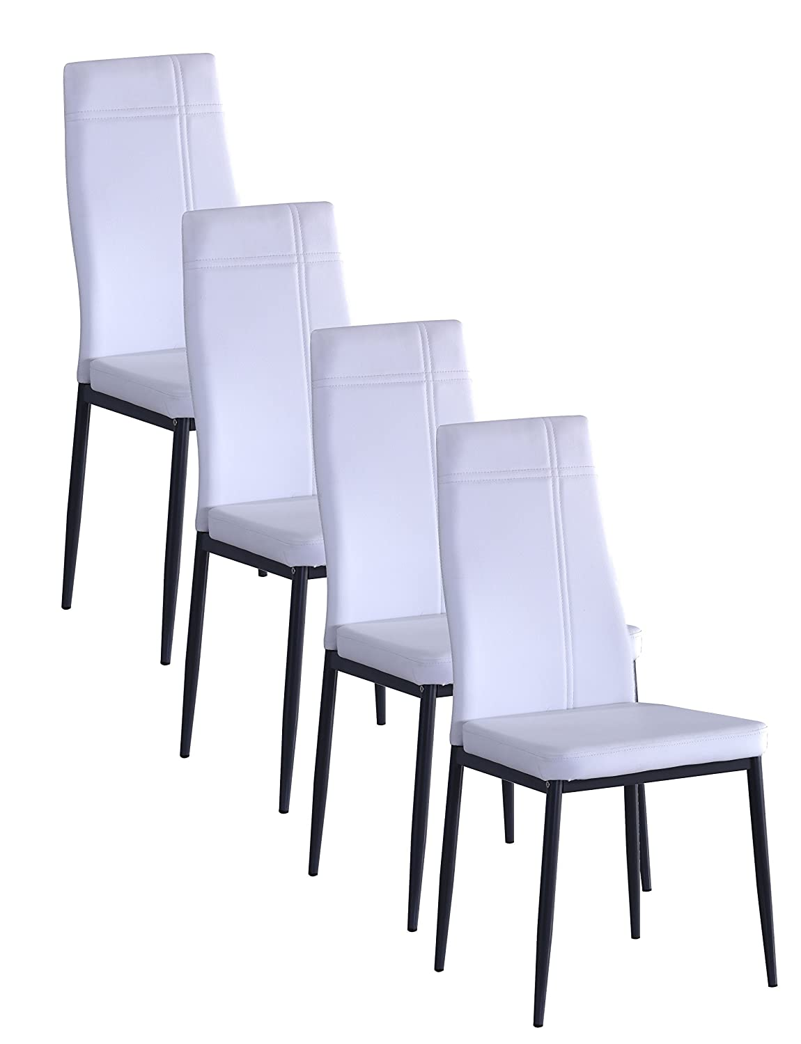 Lovely Amazon.com   Kings Brand Gray Metal Frame Dining Side Chair (Grey  Faux Leather, Set Of 4 Chairs)   Chairs