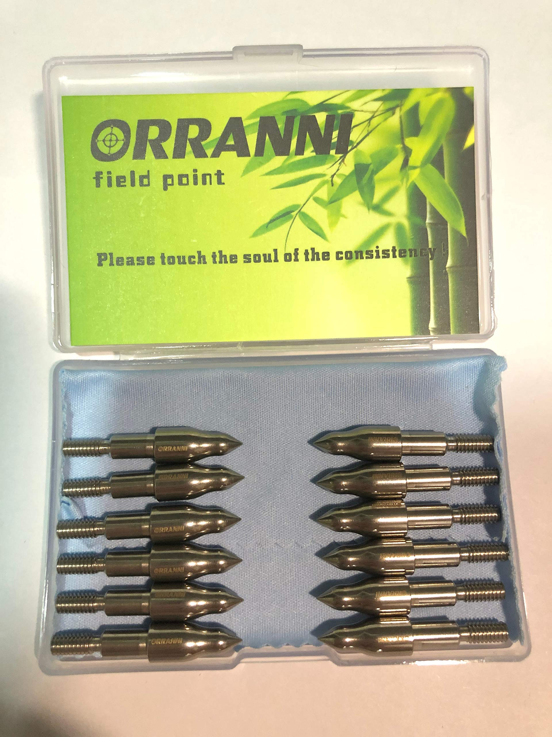 ORRANNI Archery Field Points,19/64'' Outside Diameter,100 Grains,Stainless Steel 8-32 UNC Screw in Combo Archery Field Tips(1 Dozen) by ORRANNI