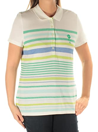27025631284 Tommy Hilfiger Womens Green Striped Short Sleeve Collared Top Size: L:  Amazon.co.uk: Clothing