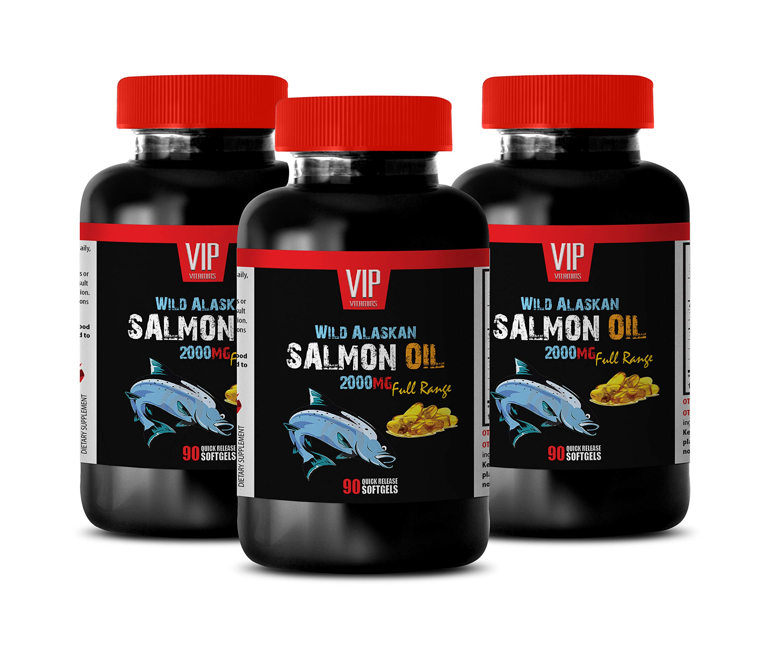 Heart Health Supplements for Women - Wild Alaskan Salmon Oil 2000 - Omega 3 dha epa - 3 Bottles 270 Softgels